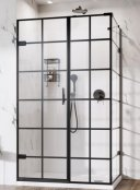 Roman Liberty Black Grid Hinged Door with In-Line Panel (Corner Fitting)