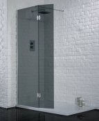 Aquadart 1500mm Smoked Glass Wetroom with Hinged Return Panel