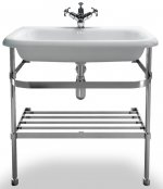 Burlington Natural Stone Large Roll Top Basin with Chrome Wash Stand