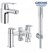 Grohe Eurosmart Smooth Body Basin Mixer with Bath/Shower Mixer