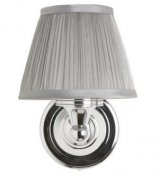 Burlington Chiffon Silver Pleated Light with Chrome Round Base