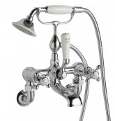 JTP Grosvenor Cross Chrome Wall Mounted Bath Shower Mixer With Kit