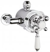 Bayswater White & Chrome Dual Thermostatic Exposed Valve