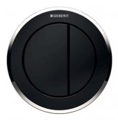 Geberit Type 10 Gloss Chrome/Black Dual Flush Button For 12 and 15cm Concealed Cistern
