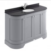 Bayswater Bathrooms 1200mm Plummett Grey 4-Door Curved Basin Cabinet
