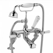 Bayswater White & Chrome Lever Deck Mounted Bath Shower Mixer with Hex Collar