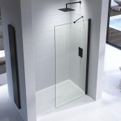 Kudos Ultimate 2 760mm Chrome Framed Wetroom Panel (8mm Glass Matt Black)