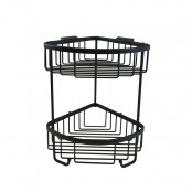 Roman Double Corner Basket with Hooks Matt Black