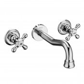 Roca Carmen Twin Lever Wall Mounted Basin Mixer Tap
