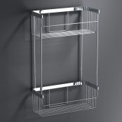 Bathroom Origins Chrome Mix Double Rectangular Basket