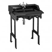 Burlington Jet Classic Rectangular 650mm Basin and Black Aluminium Wash Stand