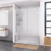 Roman Decem x 1400 x 800mm Hinged Door with In-line Panel and Finger Pull Handle