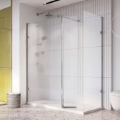 Roman Liberty 10mm 857mm Fluted Glass Wetroom Corner Panel