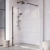 Roman Liberty 8mm 1057mm Fluted Glass Wetroom Corner Panel