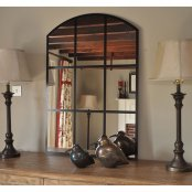 Roman Arched Black Grid Mirror