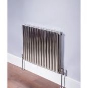 DQ Heating Cove 600 x 413mm Horizontal Single Column Brushed Stainless Steel Radiator