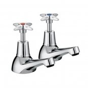 Just Taps Plus Astra Crosshead Basin Taps, Pair, Chrome