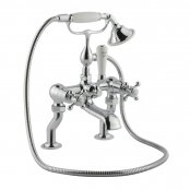Just Taps Plus Grosvenor Deck Mounted Bath Shower Mixer Tap Cross Handle with Kit - Chrome