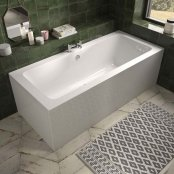 The White Space Aluna Double Ended Bath 1800 x 800mm - White