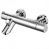 Francis Pegler Haze Wall Mounted Thermostatic Bath Filler Tap and Shower Kit - Chrome