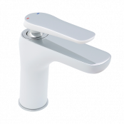 Francis Pegler Gervasi Monobloc Basin Mixer Tap - White/Chrome - waste included