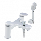 Francis Pegler Gervasi Bath Shower Mixer Tap - White/Chrome - waste included