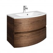Crosswater Svelte American Walnut 80 Unit & Cast Mineral Marble Basin