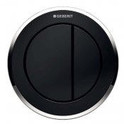 Geberit Type 10 Gloss Chrome/Black Dual Flush Button For 8cm Concealed Cistern