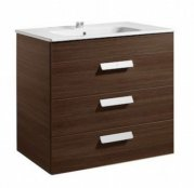 Roca Debba 805mm Textured Wenge Basin Unit (3 Drawer)