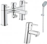 Concetto Smooth Body Basin Mixer and Bath Shower Mixer with Kit
