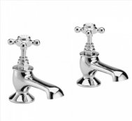 Bayswater White & Chrome Crosshead Bath Taps with Hex Collar