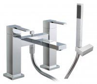 Just Taps Plus Athena Lever Deck Mounted Bath Shower Mixer Tap - Chrome
