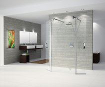 Novellini Go 4 Freestanding Shower Screen + 2 Pivoting Sections