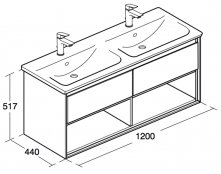 Ideal Standard Concept Air 1200mm Vanity Unit with Open Shelf