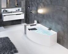 Novellini Divina O Hydro Air 1650 x 980mm Offset Corner Bath with Shell