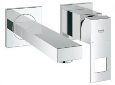 Grohe Eurocube Wall Mounted 2-Hole Basin Mixer with Concealed Body