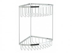 Vado Large Triangular Double Corner Shower Basket with Integral Hook