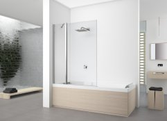 Novellini Young 2.0 3V Inline Fixed and Hinged Bath Screen