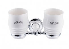 St James Porcelain Double Tumbler & Holder