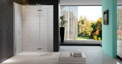 Merlyn 8 Series Showerwall with Hinged Swivel Panel
