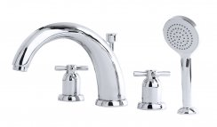 Perrin & Rowe 4Hole Deck Mounted Bath Set with Crosshead Handles (3849)