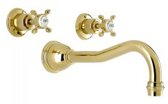Perrin & Rowe 3Hole Wall Mounted Bath Filler with Crosshead Handles (3781)