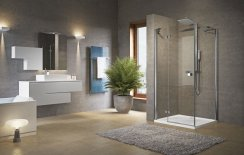 Novellini Brera G+F Hinged + Fixed Inline Shower Enclosure