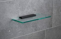 Miller Classic Black 300mm Glass Shelf