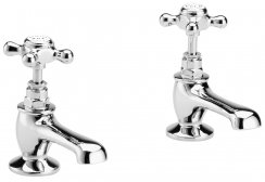 Bayswater White & Chrome Crosshead Basin Taps with Hex Collar