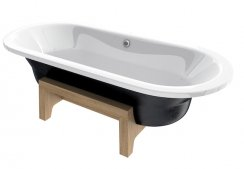 Roca Art Plus Freestanding Steel Bath with Anti-Slip - Black Exterior
