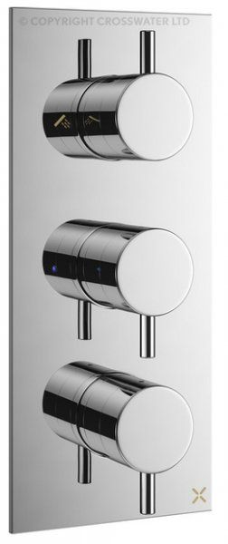 Crosswater Mike Pro Triple Outlet 3 Handle Thermostatic Bath Shower Valve
