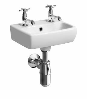 Twyford e100 Square 36cm Handrinse Basin (2 Taphole)