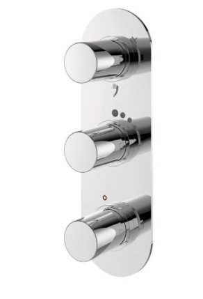 Sottini Basento Oval 3 Control Thermostatic Built In Bath Shower Mixer