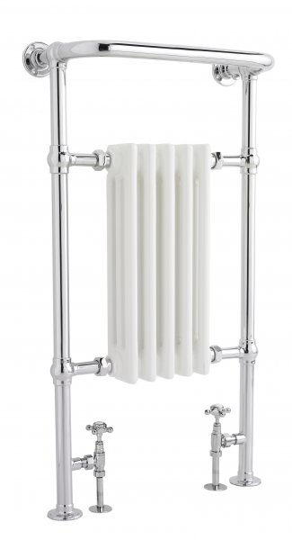Bayswater Clifford 965 x 540mm Chrome and White Towel Radiator